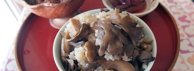 天然舞茸ごはん:ズイキの酢の物:モツ&茗荷ポン酢